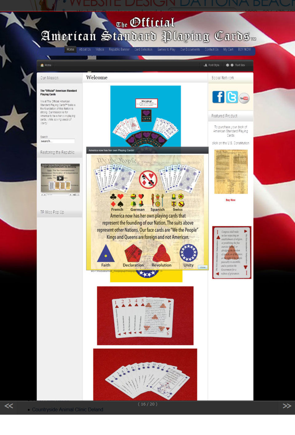 American Standard Playing Cards Website Design