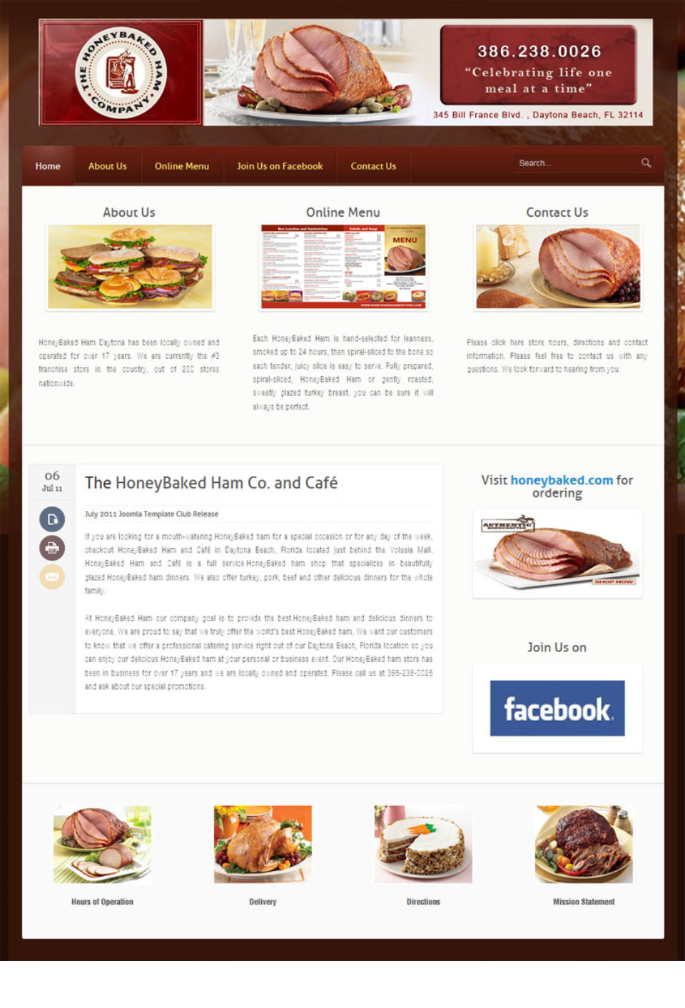 Honey Baked Ham Website Design