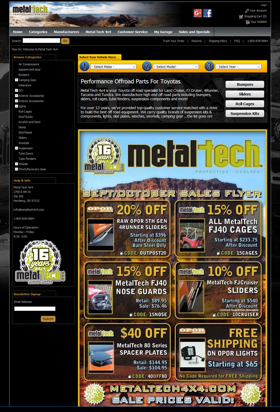 Metaltech 4×4 Website Design