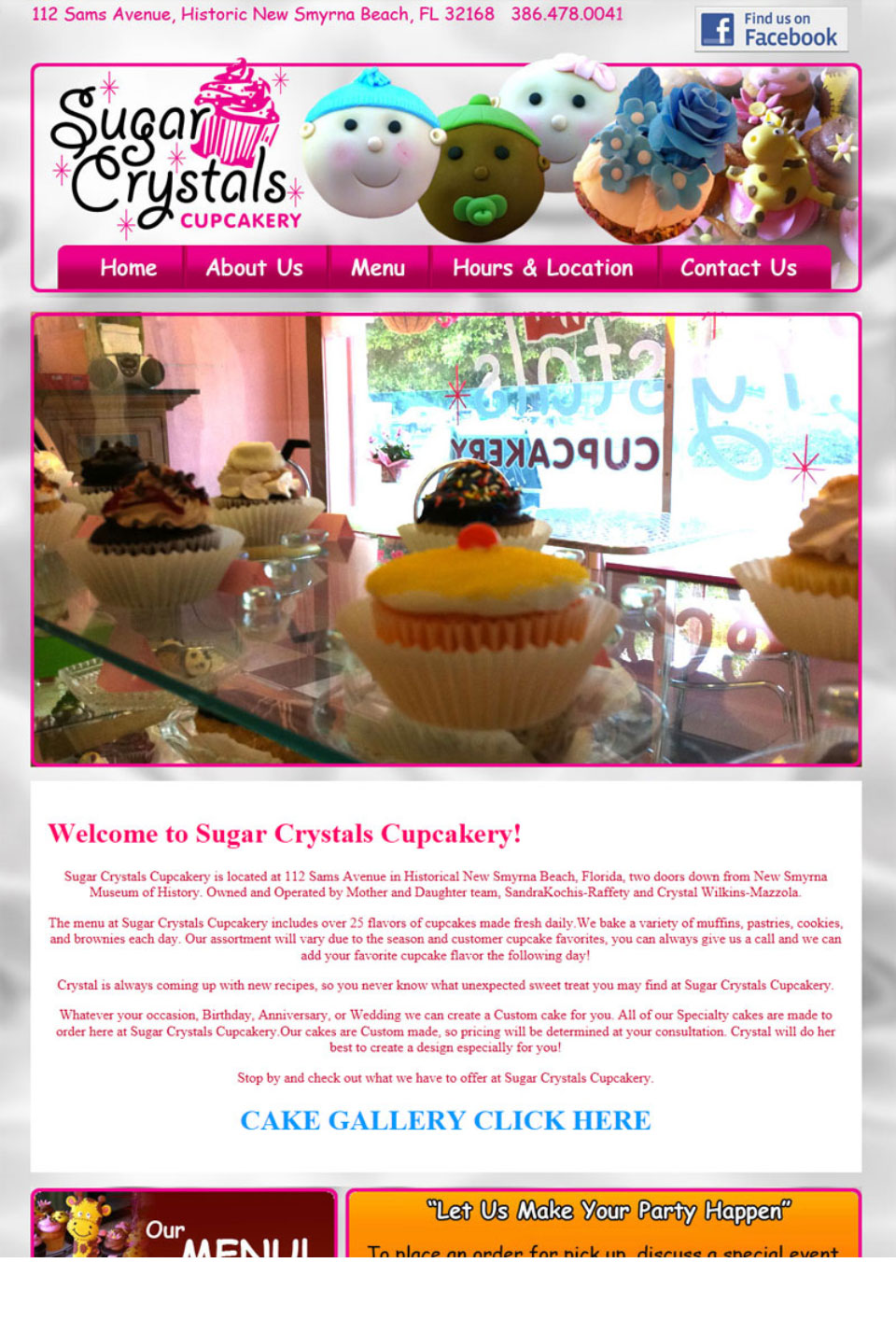 Sugar Crystals Cupcakery Website Design