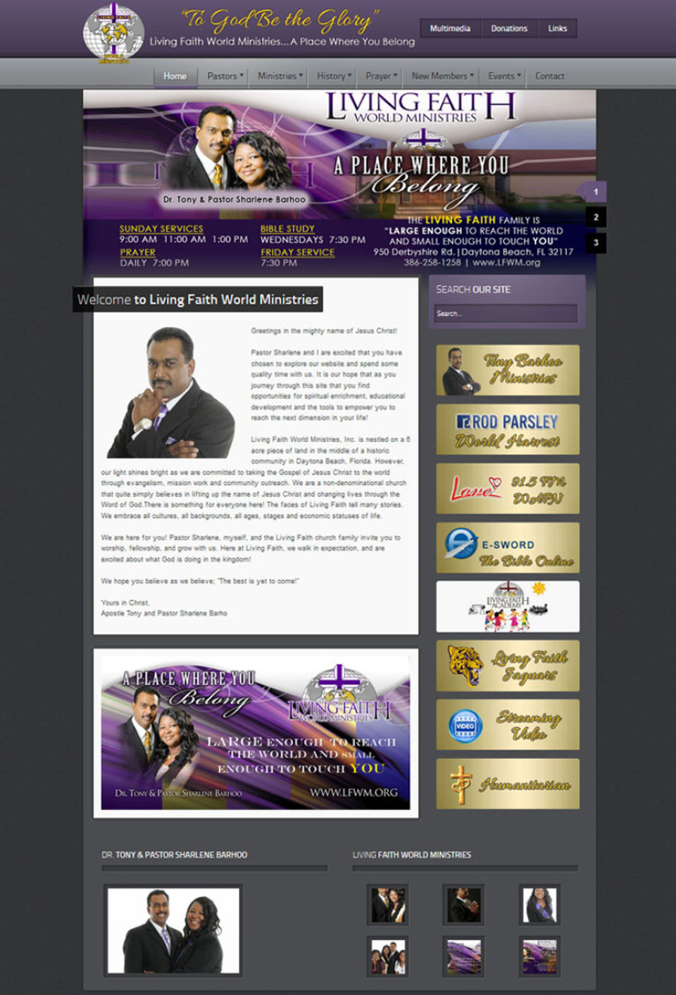 Living Faith World Ministries Website Design